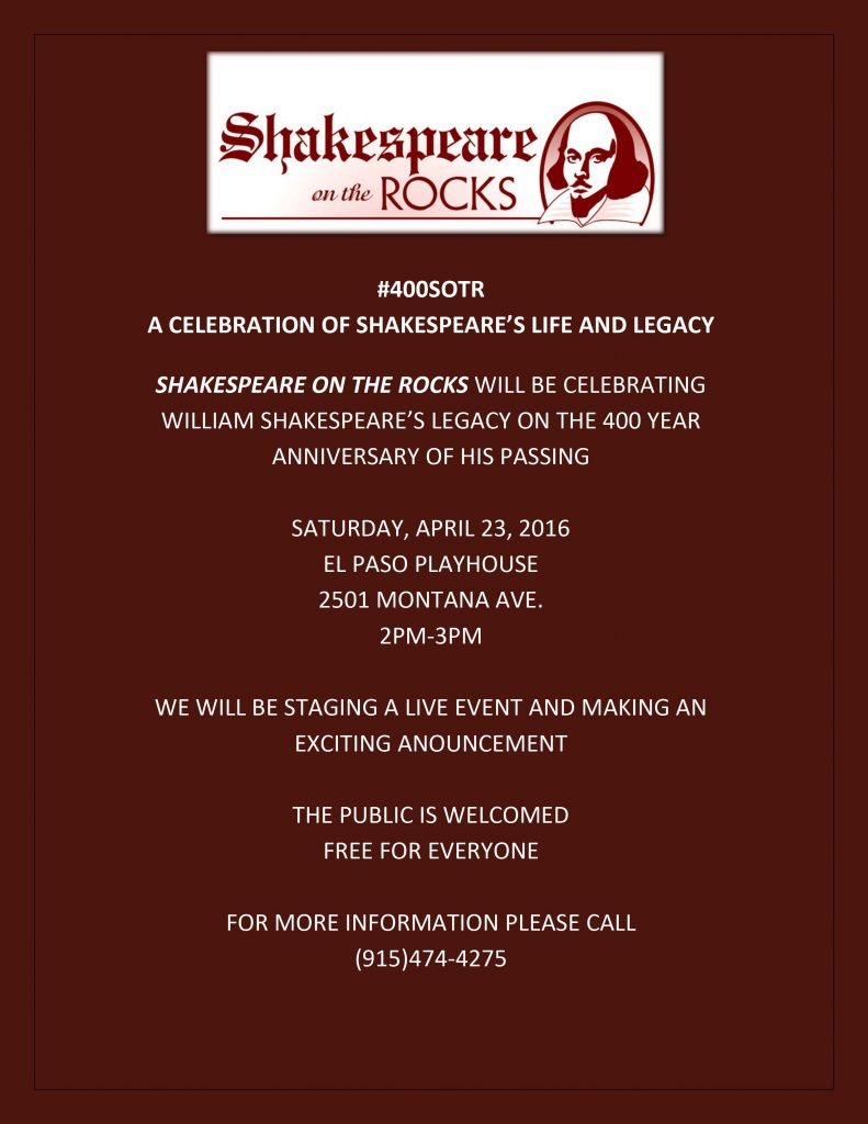 #400SOTR CELEBRATION OF SHAKESPEARE'S LIFE AND LEGACY PRESS RELEASE 4 19 16